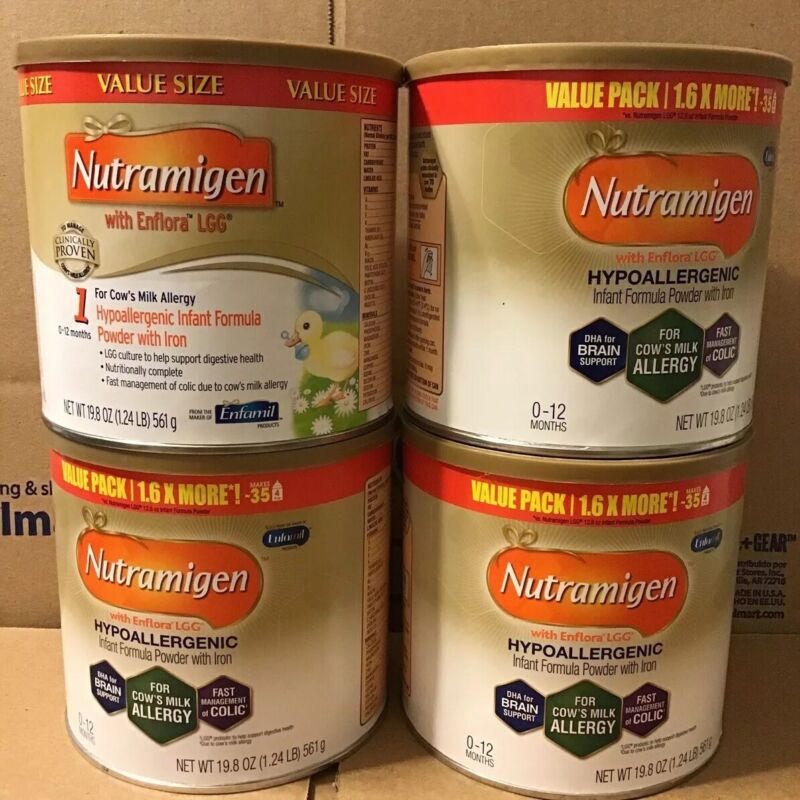 ENFAMIL NUTRAMIGEN LOT OF 4 VALUE SIZE (19.8 OZ) CONTAINERS SEALED BABY FORMULA