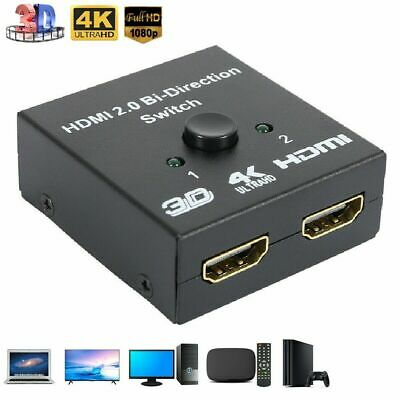 HDMI 2.0 HDTV Switch Switcher Splitter Bi-Direction Hub HDCP 2x1 1x2 In Out -