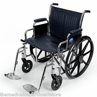 "Medline Excel Extra-Wide Wheelchair MDS806900 24"" Seat 500 lbs capacity"