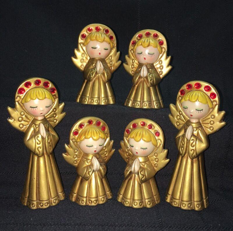 Choir of DARLING Vintage Christmas Angels Gold & Gems Figurine 1960 Japan