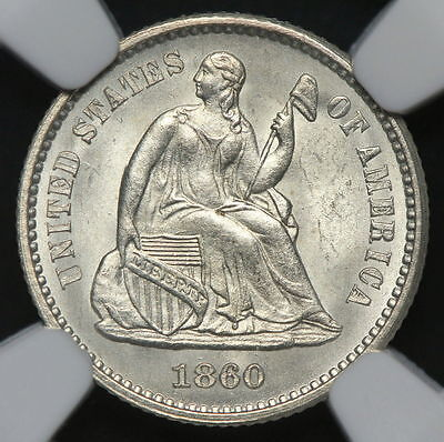 1860 Seated Liberty Half Dime GEM NGC MS64