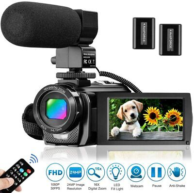 Video Camera Camcorder With Microphone 16X ZOOM FHD 1080P 30Fps 24Mp Vlogging