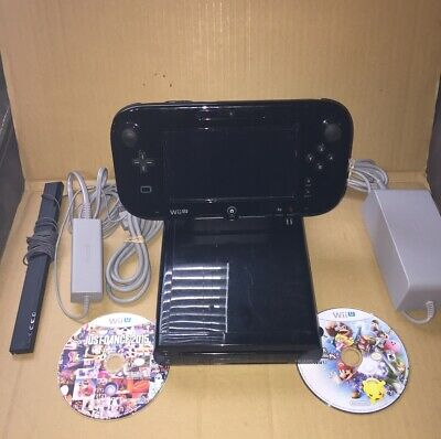 Nintendo Wii U 32GB Black Console WUP-101(02) - Tested - /w Games - Smash Bros