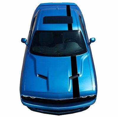 "Fits Dodge CHALLENGER 6"" RACING STRIPES 5D Black CARBON FIBER vinyl Car Graphics"
