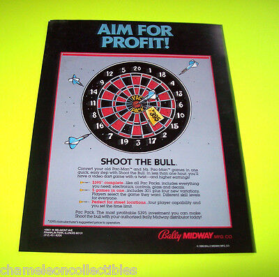 SHOOT THE BULL BALLY MIDWAY 1986 ORIGINAL VIDEO ARCADE GAME SALES FLYER BROCHURE
