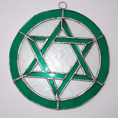One Leaded Stained Glass Round Sun Catcher Green Star of David Hanging 7''