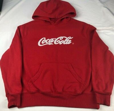COCA COLA logo spellout red stitched sweatshirt hoodie MEN'S MEDIUM spell out