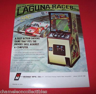 LAGUNA RACER By MIDWAY 1977 ORIGINAL VIDEO ARCADE GAME SALES FLYER BROCHURE