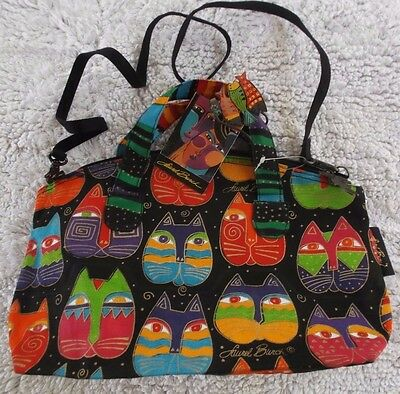 Laurel Burch Multicolored Cat Faces Black Canvas Purse/Tote w/Removable Strap