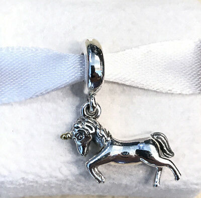 RETIRED ~ RARE Pandora 14K Gold Unicorn Charm #791200 +Pouch +Gift Packaging