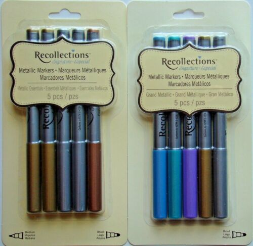 LOT OF 2 METALLIC MARKERS Recollections Signature Brand NEW! 10 pens total