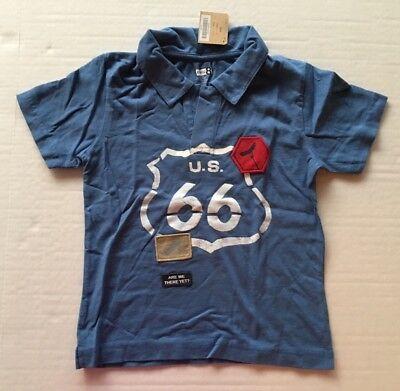 2371f2f524b NWT Gymboree Crazy 8 Sz 4 4T Blue Route 66 Road Trip Polo Shirt