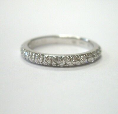 SIGNED HIDALGO STACKABLE PAVE DIAMOND 1/4CTW 18K WHITE GOLD 750 BAND RING SIZE 5
