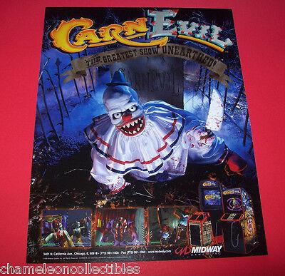 Midway CARNEVIL 1998 Original NOS Video Arcade Game FLYER CARN EVIL Horror Theme