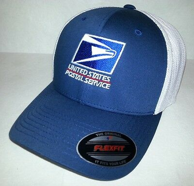 1674bd01527 USPS FLEXFIT TRUCKER CAP Trucker Mesh  Navy front White mesh back  USPS  Logo Hat