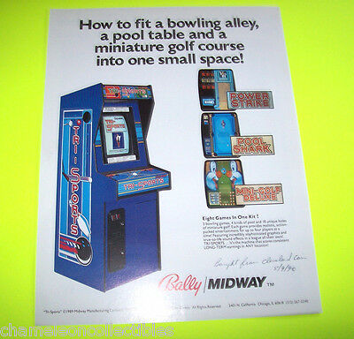 TRI SPORTS By BALLY MIDWAY 1989 ORIGINAL VIDEO ARCADE GAME SALES FLYER BROCHURE