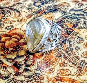Exquisite!! Golden Rutilated Quartz Ring, 925 Silver, Adjustable South Brisbane Brisbane South West Preview