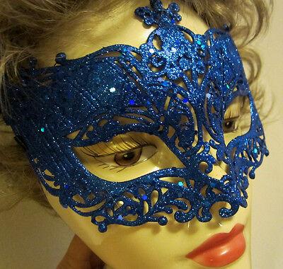 Blue Halloween Phantom of the Opera Masquerade Mask -Adult Size Glitter NIP