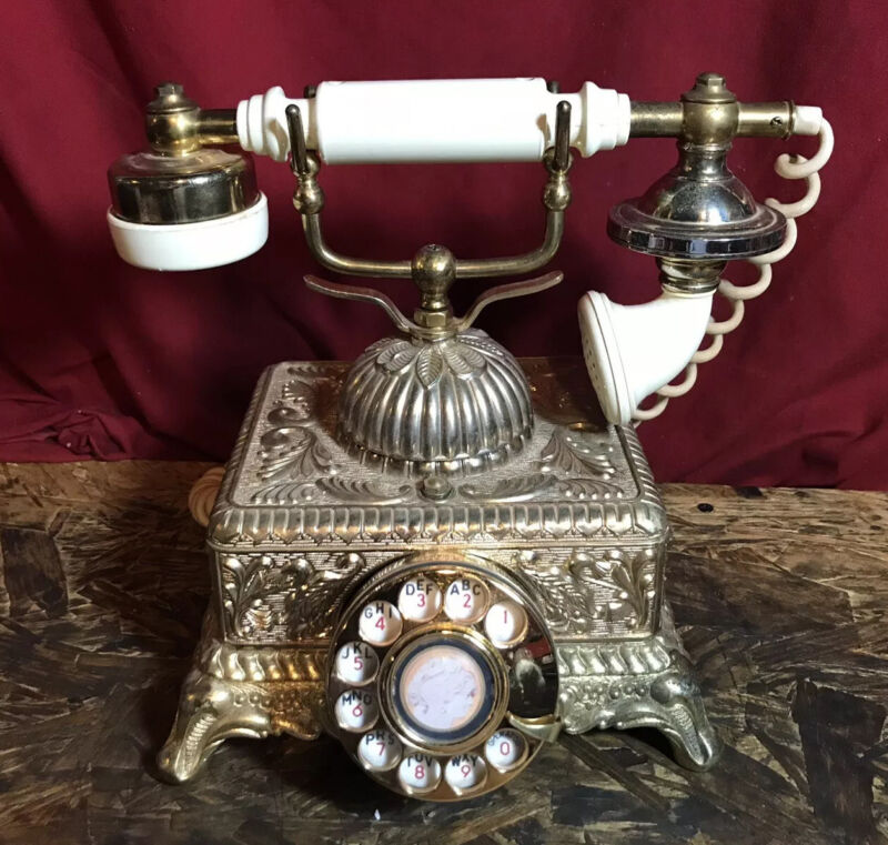 Vintage Ornate Gold Brass Victorian Rotary Phone