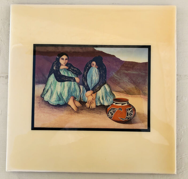 Chinle by R.C. Gorman 12 x 12 Ceramic Art Tile Navajo Women Sitting Together HTF