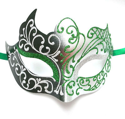 Green Silver Venetian Mask Masquerade Mardi Gras Unique Style Unisex Prom](Unique Masquerade Masks)