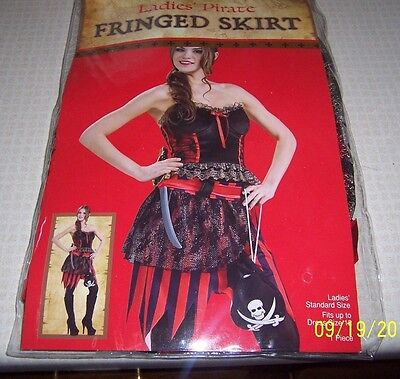 NEW COSTUME PIRATE FRINGED SKIRT STEAMPUNK SHORT STRIPES-FITS UP TO DRESS SZ 12