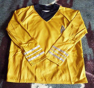 Official Deluxe Gold Star Trek Shirt With Pants Captain Kirk (Kids Size M 8-10) (Childrens Star Trek Costumes)