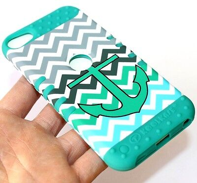 (iPod Touch 5th 6th Gen -HARD SOFT RUBBER HYBRID SKIN CASE TURQUOISE GREEN ANCHOR)