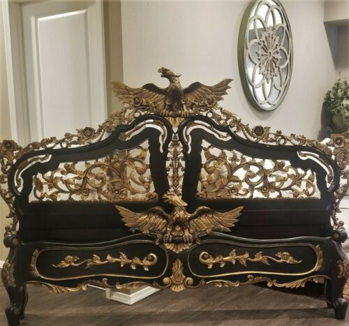 3 PC VINTAGE HEAVILY CARVED KING HEADBOARD FOOTBOARD BED & MIRROR EAGLE PEDIMENT