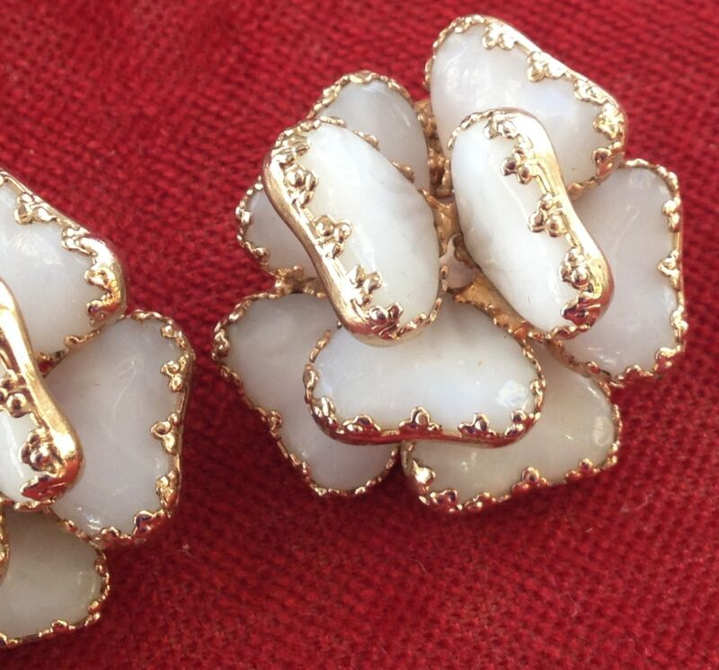 Vintage Poured White Glass Julio Marsello Earrings