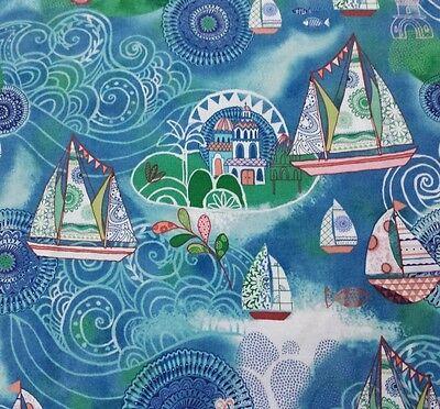 Dream Boats Janet Broxon BTY Quilting Treasures Ocean Village Blues Greens segunda mano  Embacar hacia Mexico