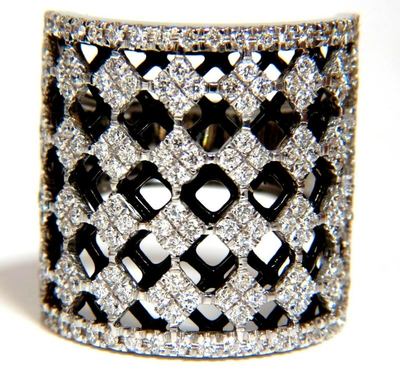 $9000 1.82CT DIAMONDS BEAD SET SANDWICHED BLACK UNDERLAY 3D GRILL BAND RING 18KT