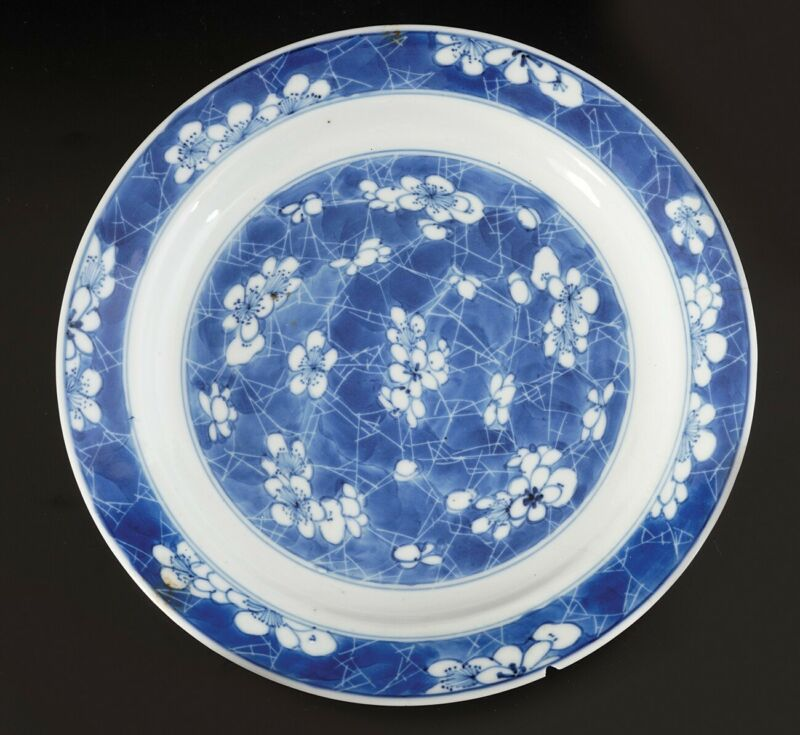A unique antique Chinese porcelain crackle-ice dish, Ming dynasty