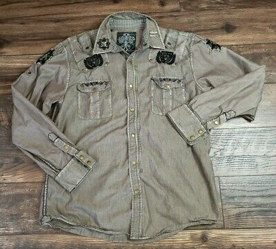 Roar Men's Distressed Embroidered Long Sleeve Snap Button / Zip Shirt Size XL