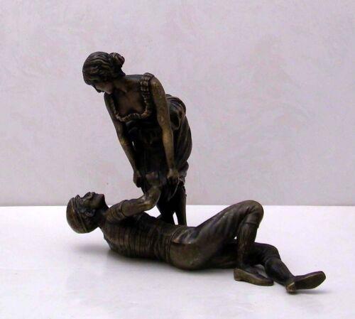 Antique Erotic Bronze Sculpture Risque Naughty Beach Seduction - Austria C1900