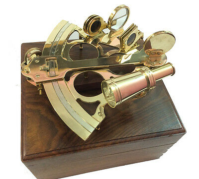 Nautical Solid Brass Sextant Vintage Marine Working Navy Sextant w Wooden Box