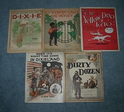 Lot of 5 Vintage Black Memorabilia Americana Sheet Music 1914-1919