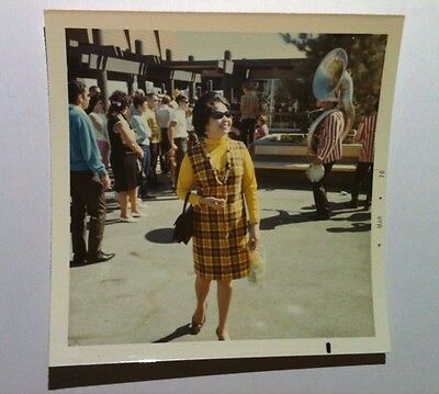 Vintage 70s PHOTO Cute Asian Girl In Old Fashion Brown & Yellow Plaid Dress
