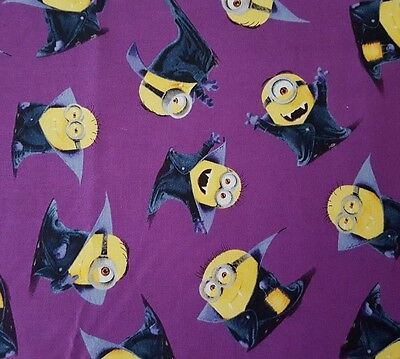Won Halloween (Bite Me / I Won't Bite BTY Minons Quilting Treasures Toss on Purple)