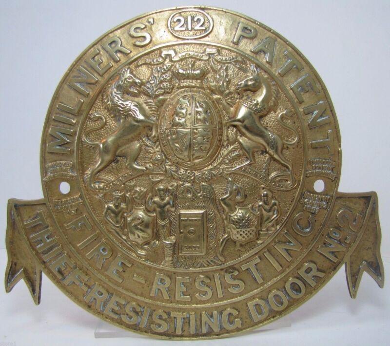 Antique Milners Fire-Resisting Thief-Resisting Brass Safe Plaque Sign ornate