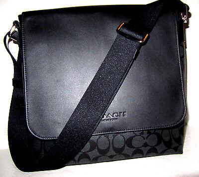 Coach F754771 Men's Signature Messenger PVC Bag Black Charcoal Grey New NWT $375