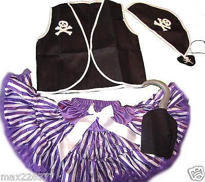 New Halloween pettiskirt Pirate vest skirt costume tutu 8 10 yrs girl Large