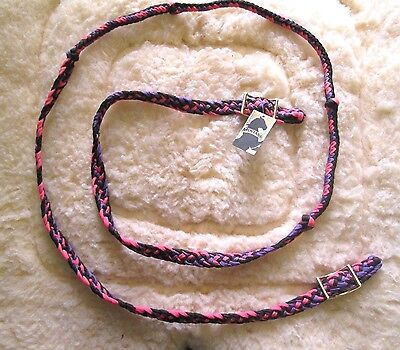 "New Knotted Braided Barrel Racing Rein. 3/4""x8'. Pink, Purple, And Black"