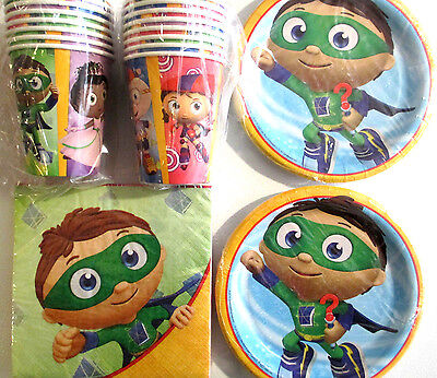 SUPER WHY ? - Birthday Party Supplies Set Pack w/ Plates,Napkins & Cups