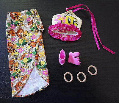 Barbie Clothes Outfit Tweety Bird Doll Skirt Top Shoes Jewelry Accessory Mattel