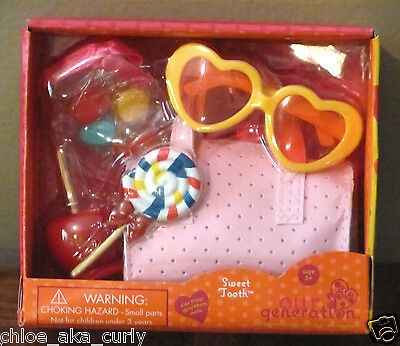 American Our Generation 18  Girl Doll Sweet Tooth Candy Food Purse Glasses Set