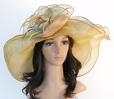 New Woman Church Derby Wedding Sinamay 3 Layers Dress Hat 2397 Beige multicolor