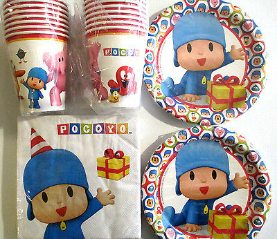 POCOYO - Birthday Party Supplies Set Pack w/ Plates,Napkins & Cups
