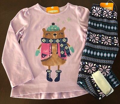 Nwt Gymboree Girl Ice Dancer Skater Bear Tee   Fuzzy Leggings Outfit 3T 4T 5T