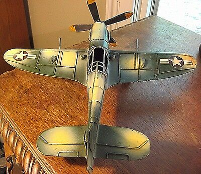 METAL FIGHTER  VINTAGE COLLECTOR  MILITARY AIRCRAFT DECOR MODEL AIRPLANE DISPLAY